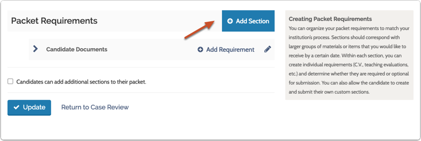 """Click """"Add Section"""" to add a new section to the packet if necessary"""
