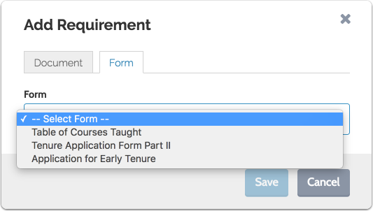 """Select the form from the dropdown menu and click """"Save"""""""