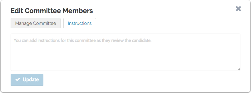 """Click the """"Instructions"""" tab to add instructions for the committee"""