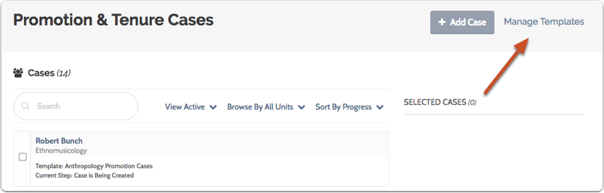 """Click """"Manage Templates"""" to view or edit the template you've created"""