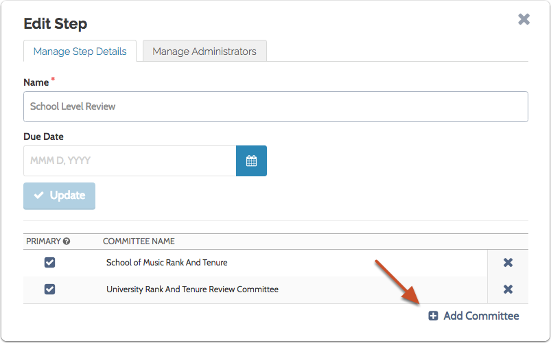 "Click ""Add Committee"" to give another committee access to cases at this step"