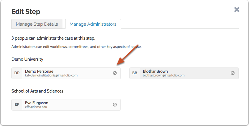 Click the recusal icon to recuse an Administrator from cases at this case review step