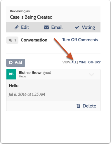 "Users can also filter the conversation to view ""All,"" ""Mine,"" or ""Others'"" comments"