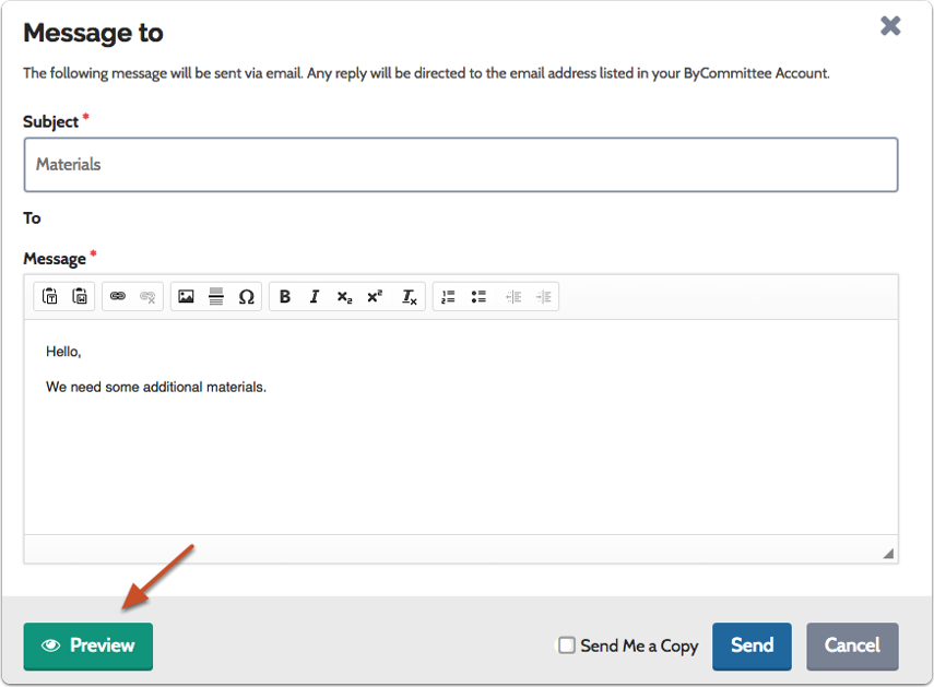 "Enter subject and message, and click ""Preview"" to see how the message will look in the candidate's inbox"
