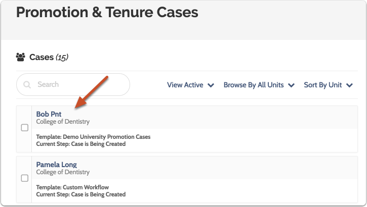 Navigate to the Case page by clicking the candidate's name in the list of cases