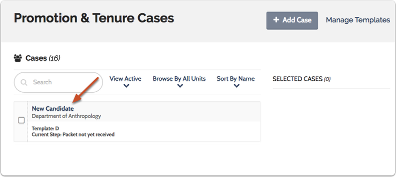 Navigate to the case you want to view