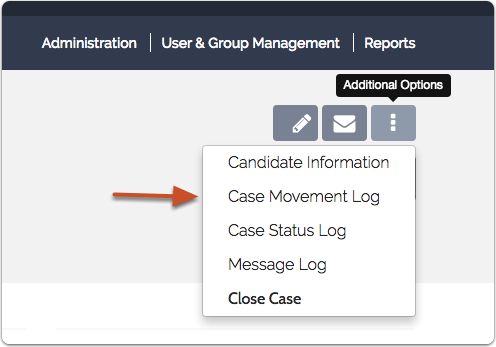 """Select """"Case Movement Log"""" from the list of options"""