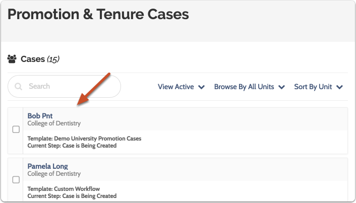 Navigate to the case review step you want to edit by selecting the candidate's name in the list