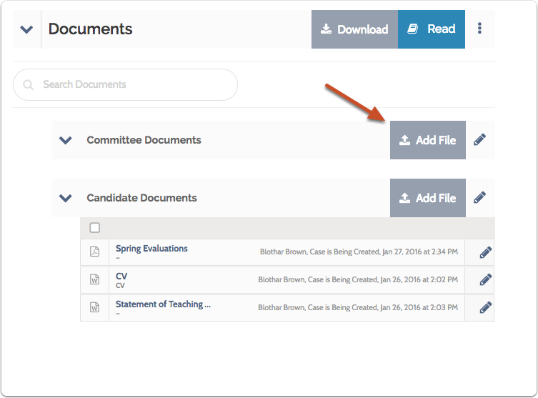 "To add a document to a section, click ""Add File"""