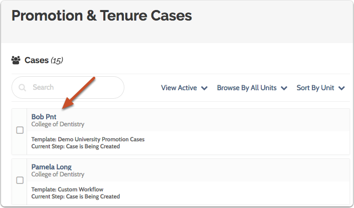 Navigate to the Case page by clicking the candidate's name in the list