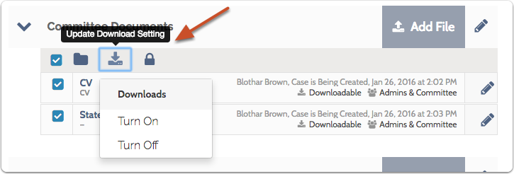 """Click the """"Download"""" icon to update download settings for the selected documents"""