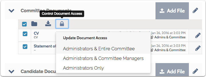 """Click the """"Access"""" icon to set who can access the selected documents"""