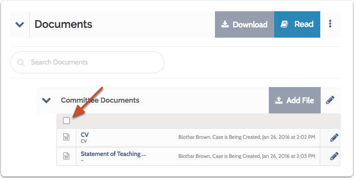 Permissions can also be set for multiple documents in a section