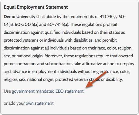 "Click ""Use government mandated EEO statement"" to revert to the original statement"