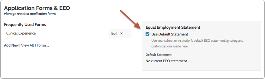 Administrators can select whether or not to use the institution's default statement when posting a position