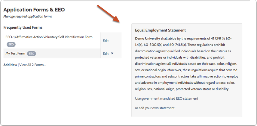 Scroll to bottom right of the Administration page to view the current EEO statement