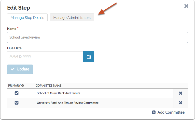 """Click the """"Manage Administrators"""" tab"""