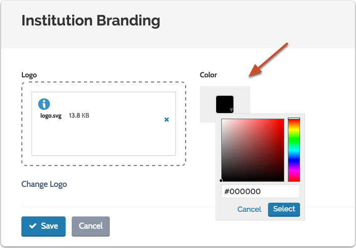 Choose a primary color from the pallet or enter a hex code that matches the colors of your institution