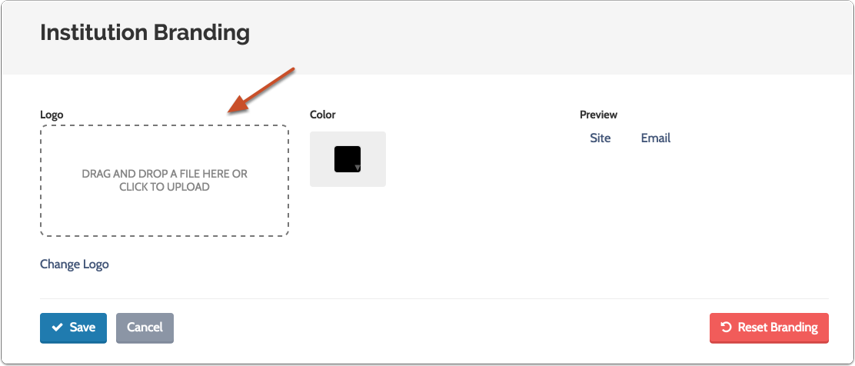 Drag and drop or upload an image file (jpg, png, gif) of your logo