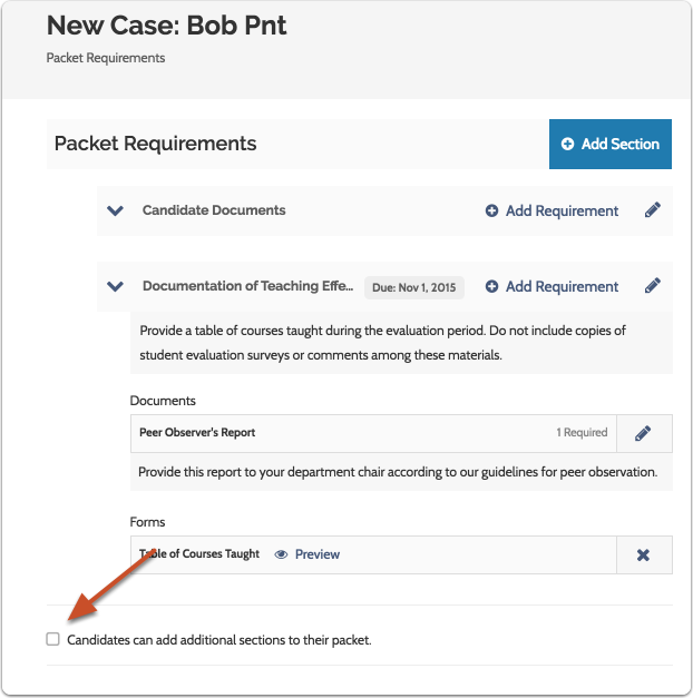 Check the box to allow candidates to add sections to their packet