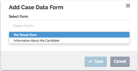 Select the case data form from the dropdown list and click to save