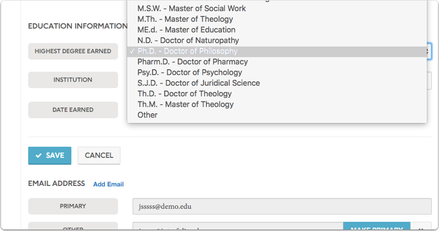 Select your new degree from the dropdown list