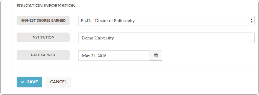 Update the institution and date earned fields and click to save