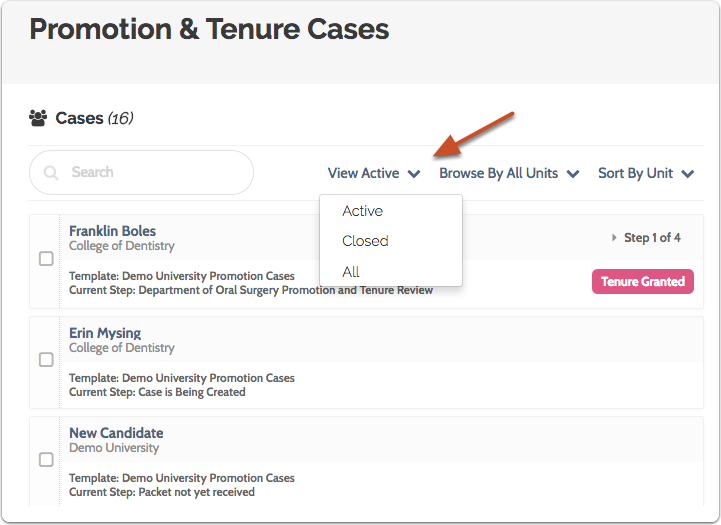 "Click the ""View Active"" link and select ""Closed"" to view closed cases"