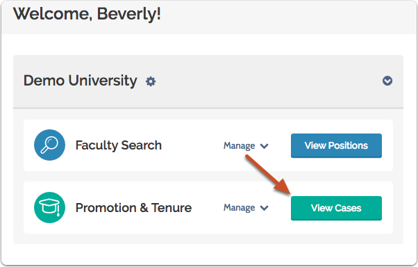 """Select """"View Cases"""" on your ByCommittee Promotion & Tenure dashboard"""