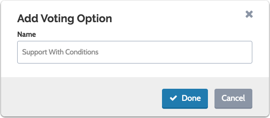 "Enter the new option and click ""Done"" to save"