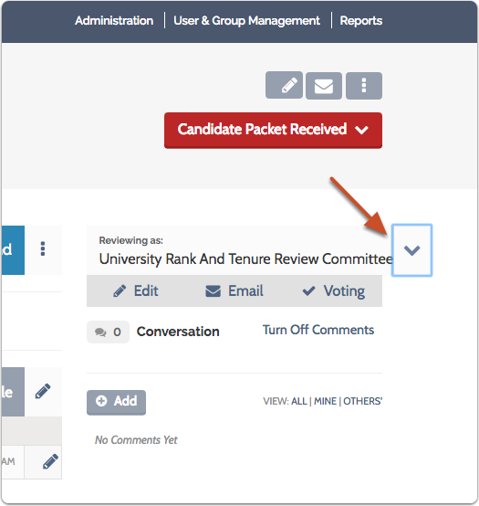 If you are assigned to multiple committees with access to the case at this step, you can change the current committee from the dropdown menu