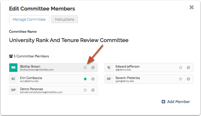 Click the star to name a member Committee Manager