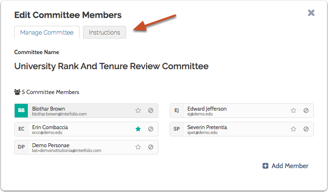 "Click the ""Instructions"" tab to add or edit instructions for the committee"