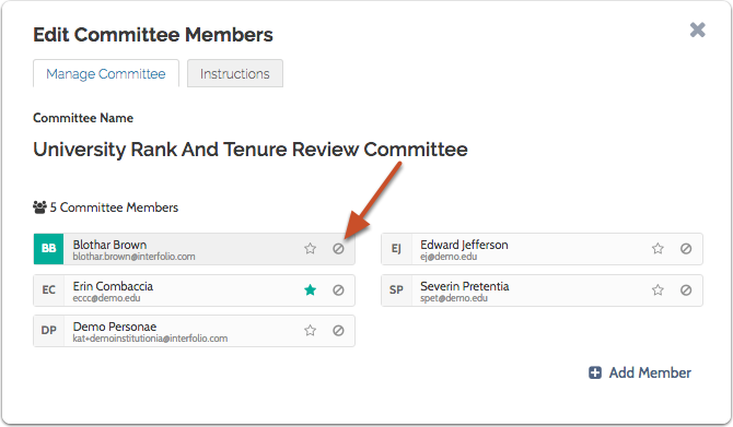 To temporarily remove a member, click the recusal icon next to the member's name