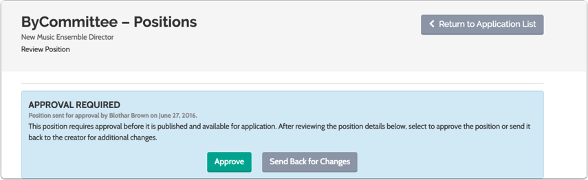 Select to approve the position or send it back for changes