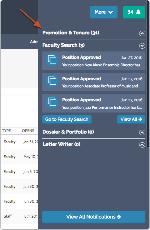 Notifications appear in a dropdown list organized by product
