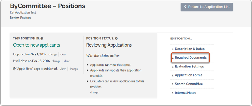"""1. On your position's review page, select """"Required Documents"""""""