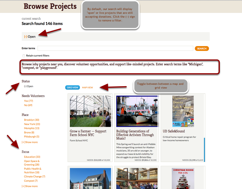 """Enter keywords or pick search """"facets"""" to reveal projects by location, type, need, and status."""