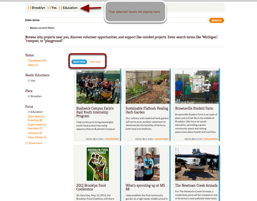 Or that you want to find an education related projects in your neighborhood to volunteer for...
