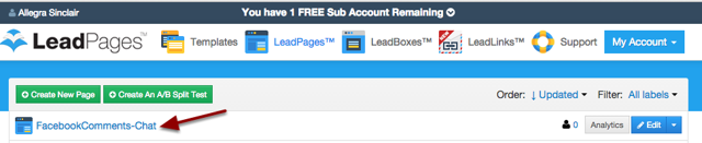 Log into your LeadPages Account and click the name of the Page you want to use