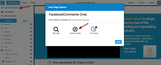 Add the Facebook Comments code into the Tracking Code for your LeadPage