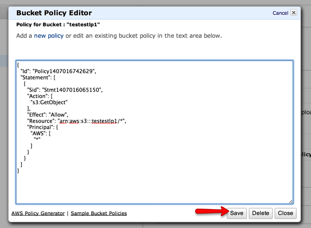 Paste the Policy Code copied to your clipboard in the text box that appears, then click Save.