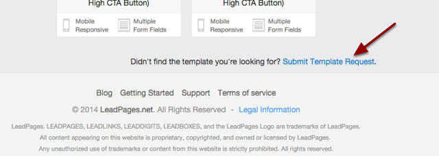 "3.  Scroll to the bottom of the templates page and click on the ""Submit template request"" link"