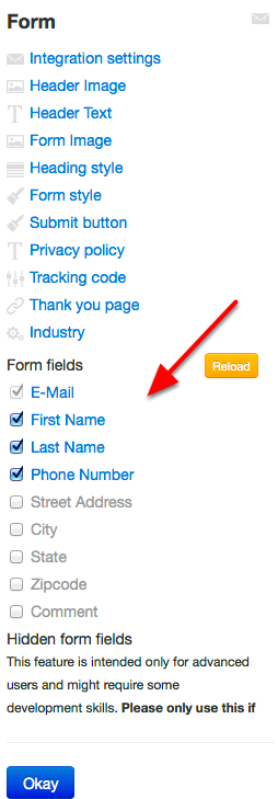 Select which fields you wish to collect: