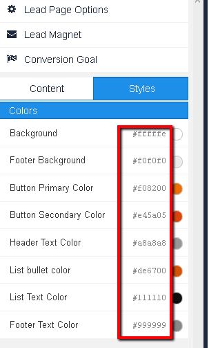 How to use hex color codes for page elements
