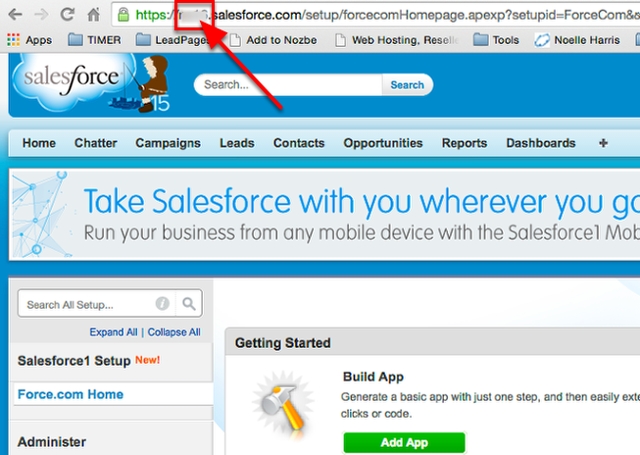 Login to your Salesforce account and copy your Instance Name to your clipboard