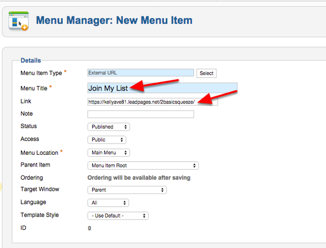 Give your Menu Item a name and paste the URL of your Leadpage from Step 1