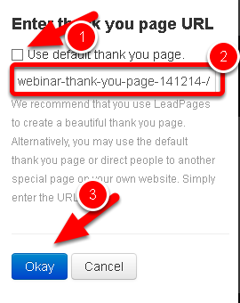 Customize the Thank You page section