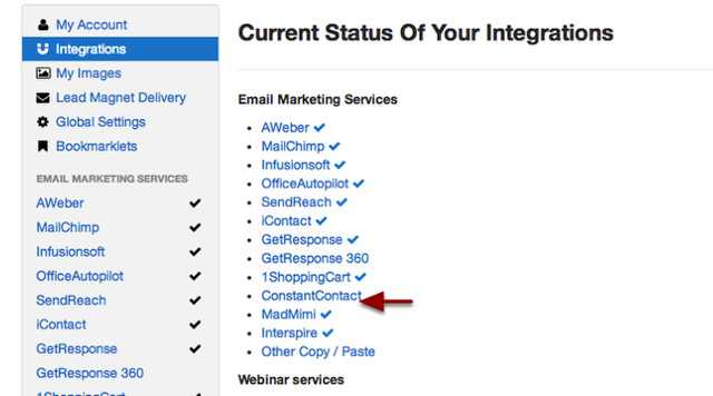 "Select ""Integrations"" and choose Constant Contact."