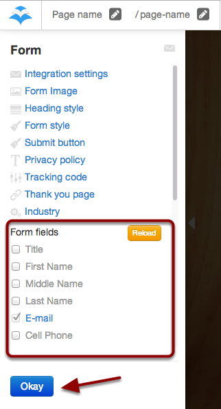 "Choose the Form Fields by checking the box to the right of each field name and click the blue ""OKAY"" button to save your selections"